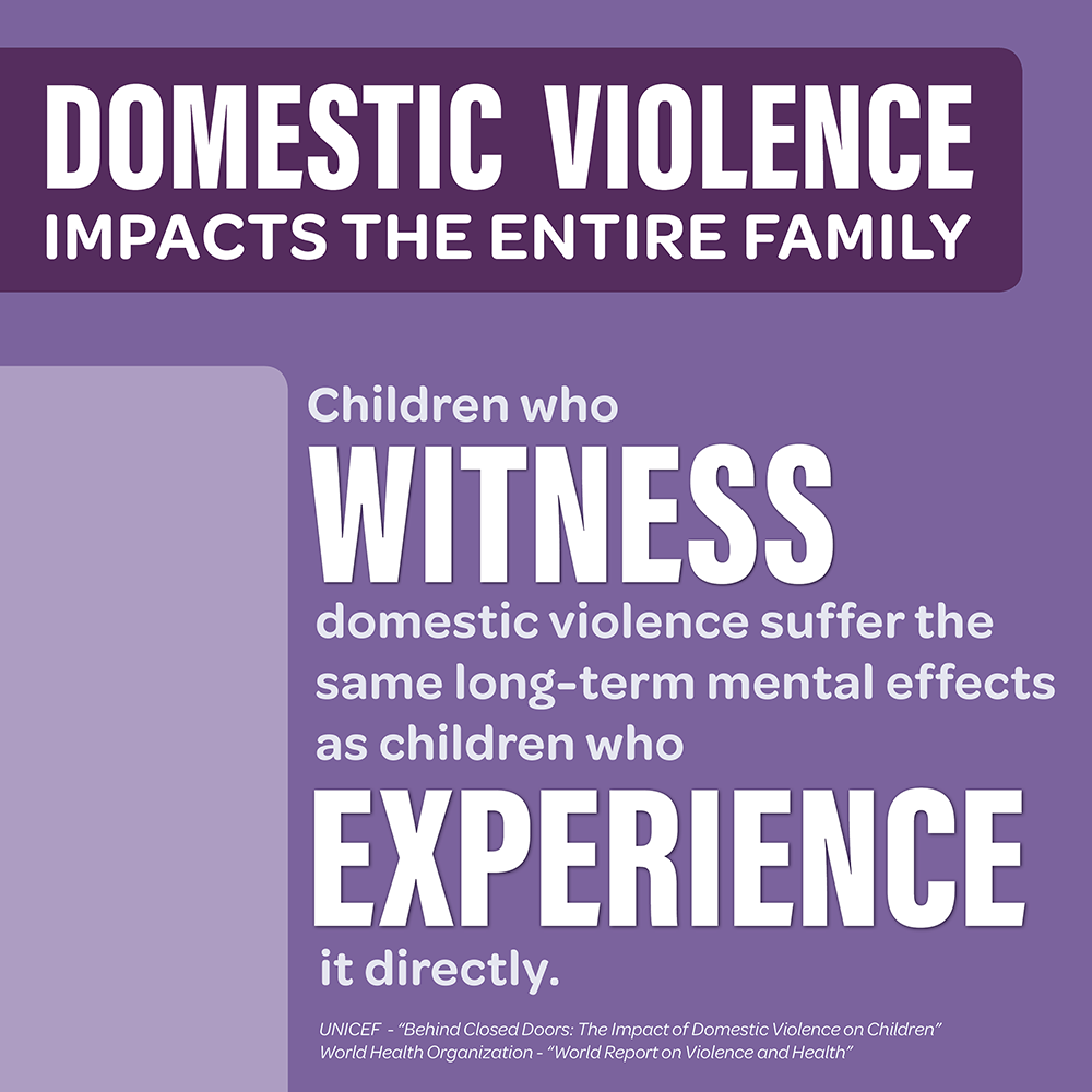 Children who have witnessed domestic violence experience the same life-long mental effects as if they had experienced the abuse directly.