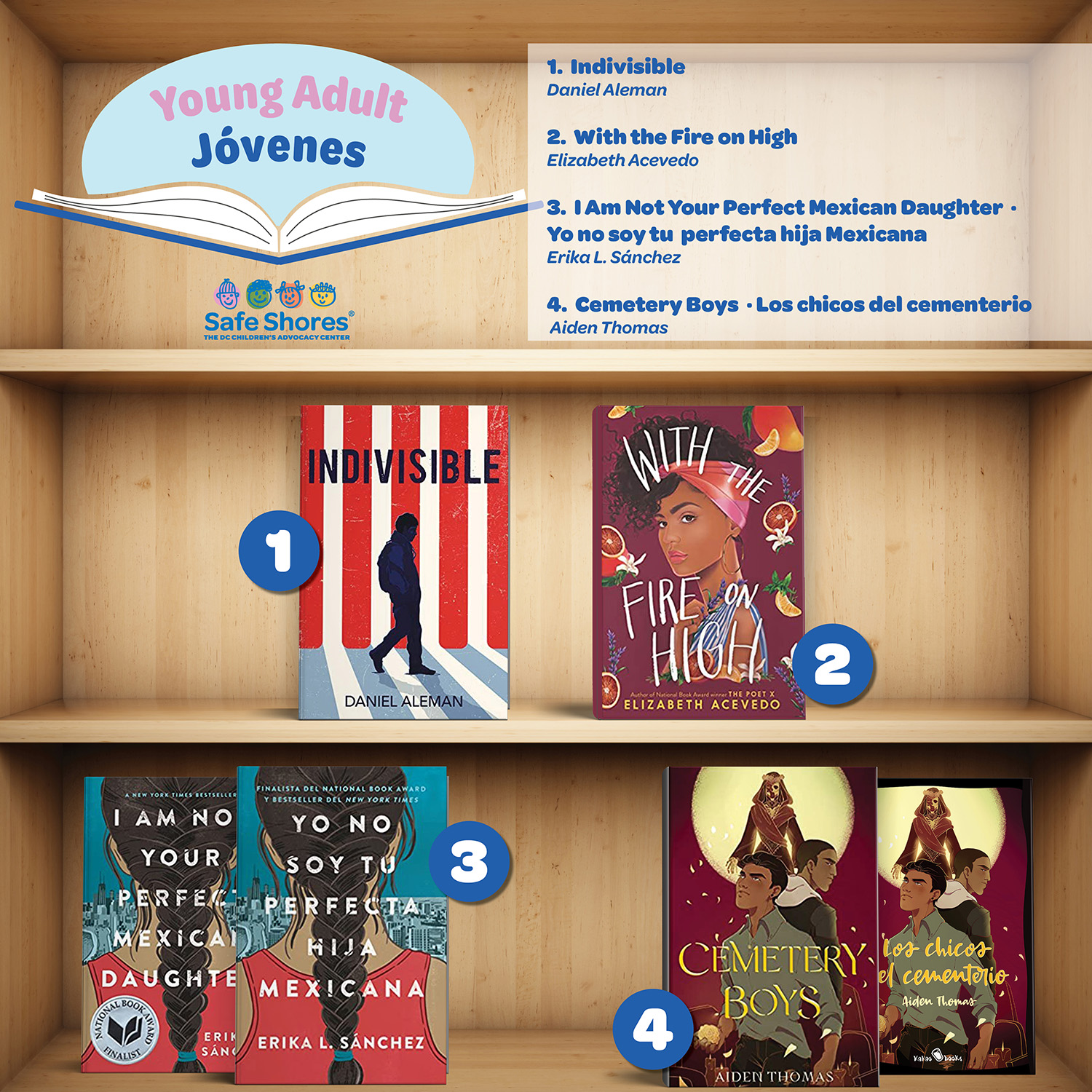 Latino Books Month for young adults. Books are: 1. Indivisible – Daniel Aleman 2. With the Fire on High – Elizabeth Acevedo 3. I am Not Your Perfect Mexican Daughter | Yo No Soy Tu Perfecta Hija Mexicana – Erika L. Sánchez 4. Cemetery Boys | Los Chicos del Cementerio – Aiden Thomas