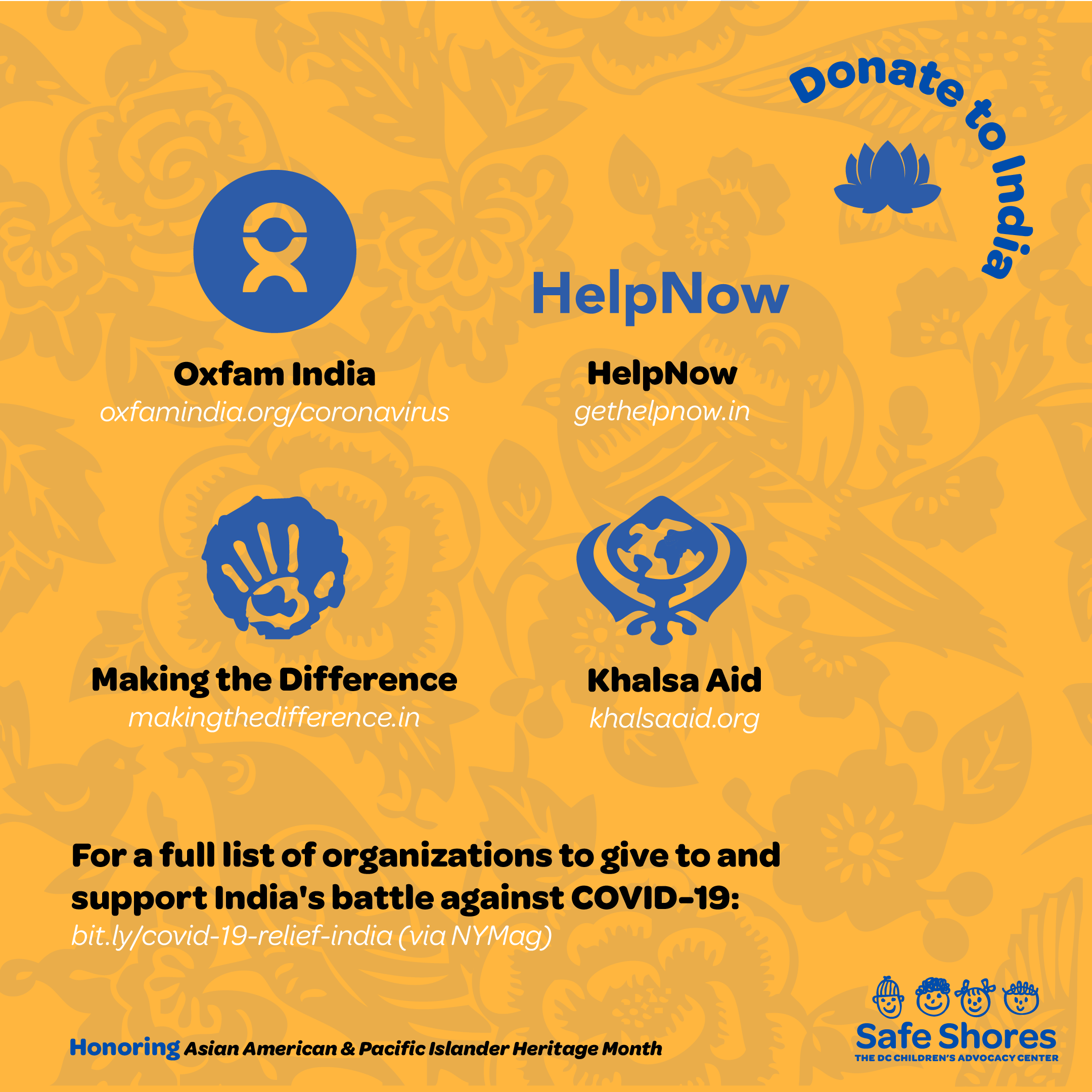 Organizations to donate to for assist in India's battle against COVID-19. Organizations listed include: 1.Oxfam India 2. HelpNow India 3. Making the Difference 4. Khalsa Aid